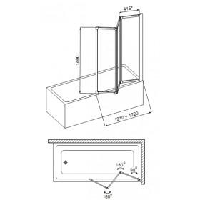 Фото 1 170-04000 Штора для ванны Aquaform Standart-3 120х140 см. Каркас - сатин