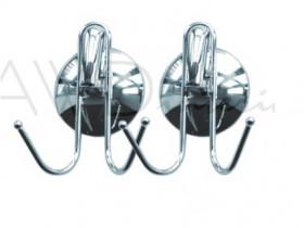 Фото 2090339 Набор с 2 крючков (по 2 крючка на одном) на вакуумных присосках (метал)