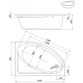 Фото 2 241-05140 Ванна Aquaform TINOS 140x95 левая