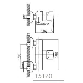 Фото 1 Смеситель для душ. кабины Imprese HORAK (15170)
