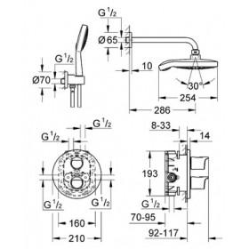 Фото 2 Комплект: термостат скр.монт. Grohe Grohtherm 2000 для ванны/душа + душ.набор Power&Soul (34283001)
