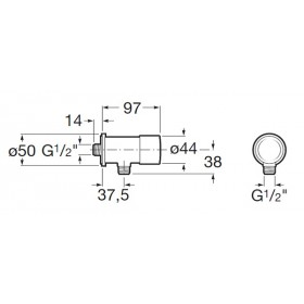 Фото 1 Кран-дозатор Roca Sprint для писсуара наруж.монтаж (5A9224C00)