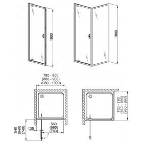 Фото 4 103-06075 Душевая дверь Aquaform SALGADO 80 Transparent DP Active