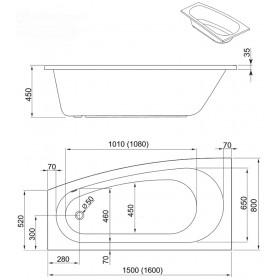 Фото 2 241-05151 Ванна Aquaform SIMI 150x80 левая
