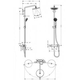 Фото 2 Душевая система Hansgrohe Croma 220 Showerpipe с поворотным кронштейном 400мм (27185000)