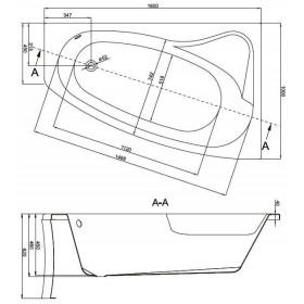 Фото 1 Ванна акриловая Cersanit Sicalia 160x100 левая + ножки