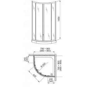 Фото 4 100-06564 Душевая кабина Aquaform LAZURO 80x80 Transparent, полукруг