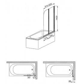 Фото 3 170-06965 Штора на ванну Aquaform Modern 2 81x140 transp|white
